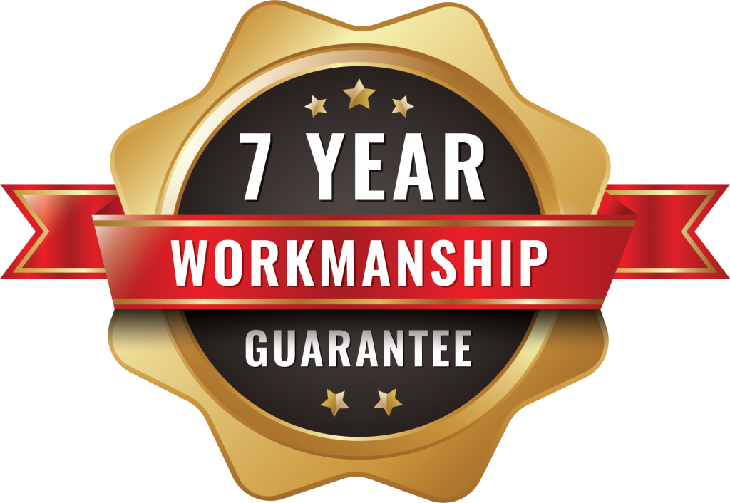 residential roofing contractor offering a 7 year workmanship guarantee logo