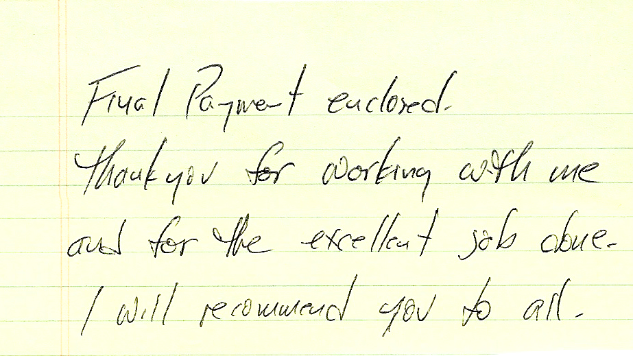 handwritten review good work
