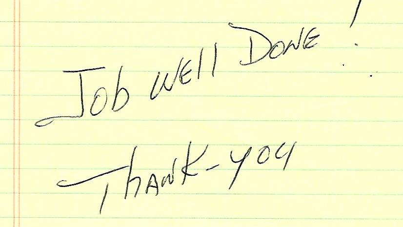 handwritten review great job