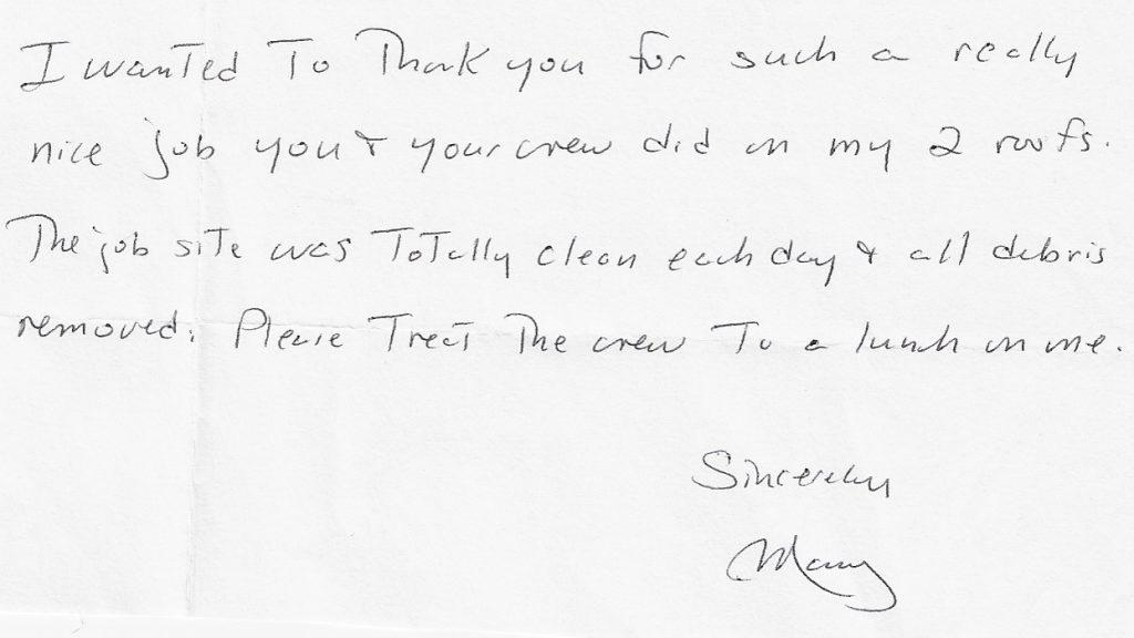 handwritten review thank great job