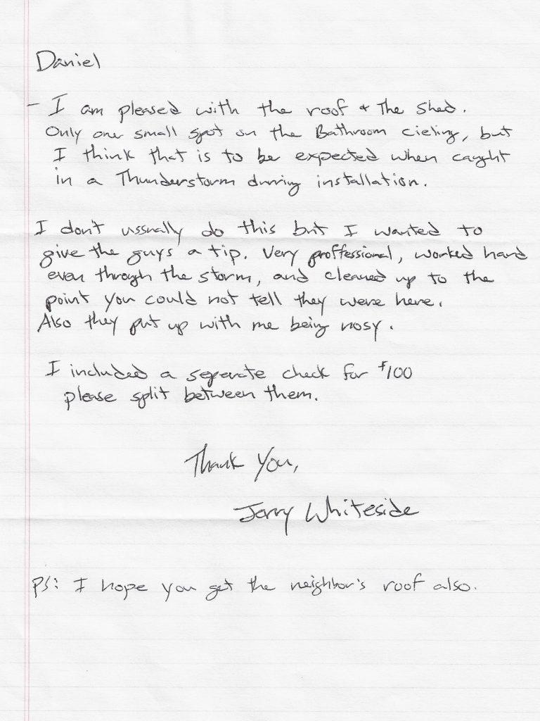 handwritten review thank you